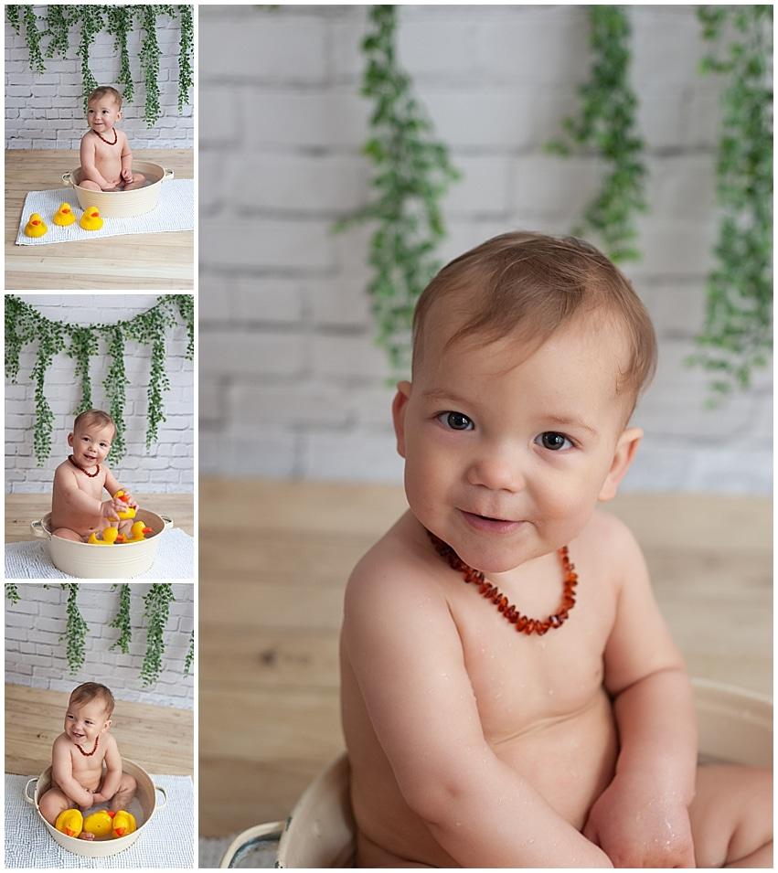 séance photo bain de bébé